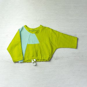 Bluza copii asimetrica bumbac muselina verde