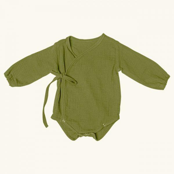 Body petrecut muselina verde