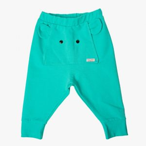 Pantaloni tricot bumbac elefant turcoaz