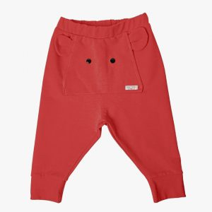 Pantaloni tricot bumbac elefant rosu