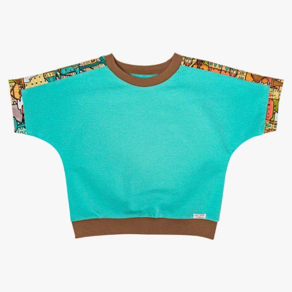 Tricou tricot bumbac turcoaz